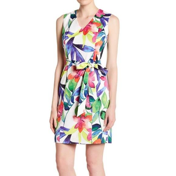 89bf0b15f5f73a Ellen Tracy V neck print dress multicolor floral